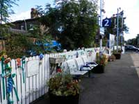 Knitted decorations at Nunthorpe Station
